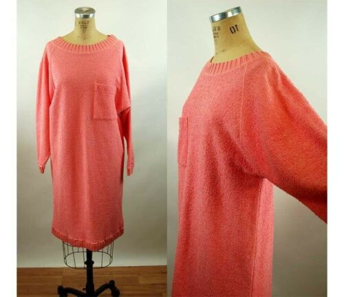 1980s terry cloth dress pink coral oversized batwi