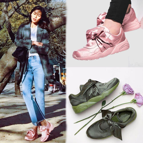 Fashion Women Pink//Army Green Satin Bow Walking Athletic Sneakers Casual Shoes T
