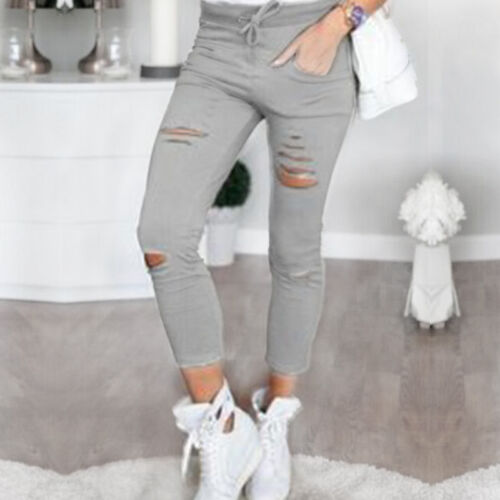 Women Skinny Ripped Holes Jeans Pants High Waist Jeggings Slim Pencil Trousers