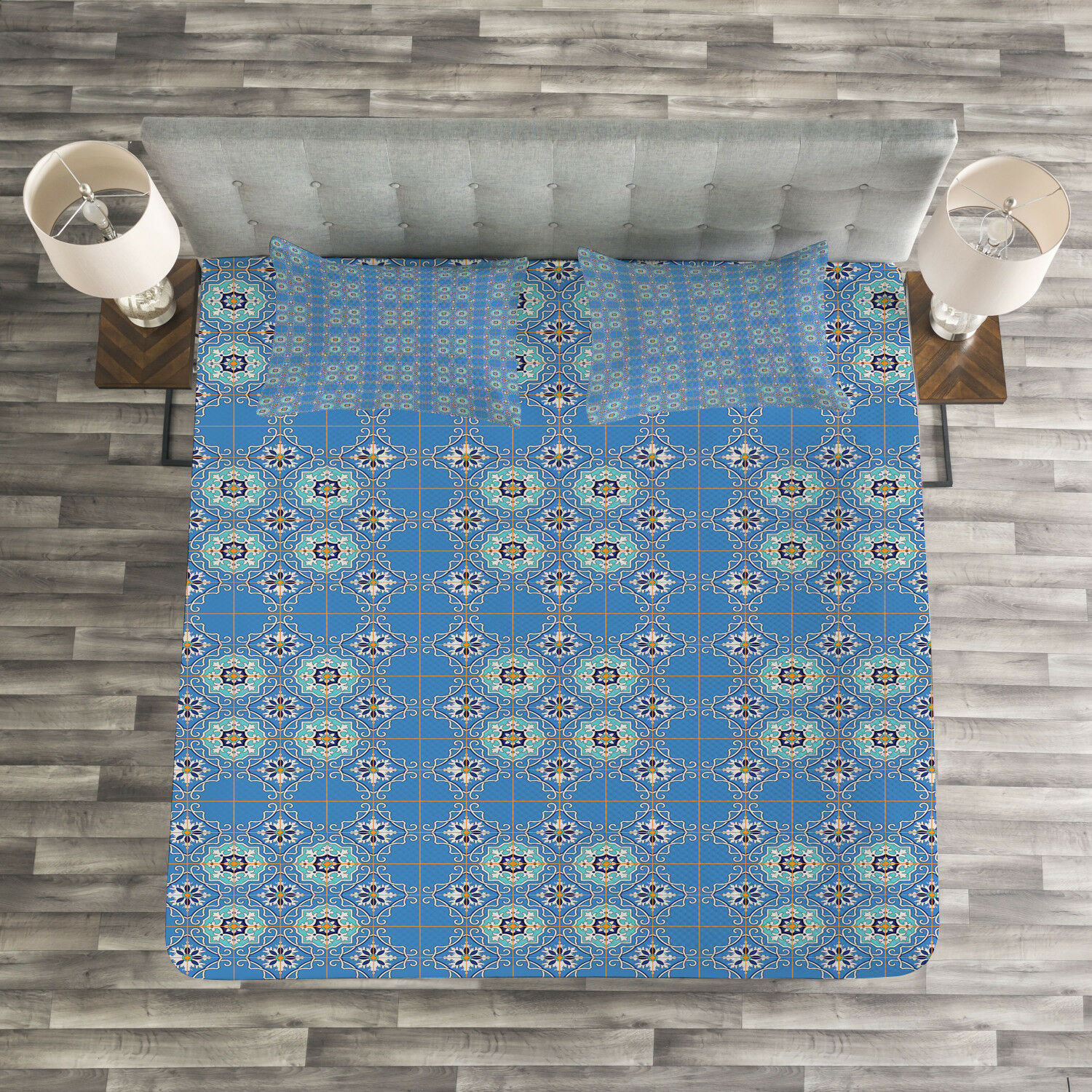 Mgoldccan Quilted Bedspread & Pillow Shams Set, Patchwork Style blueeee Print