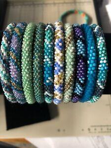 10 SET Nepal Rolls Glass Beaded bracelet crochet handmade bead bangle USA NEPAL