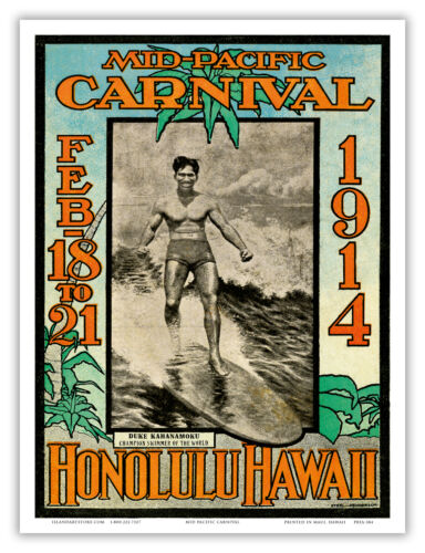 Hawaii Mid Pacific Carnival Honolulu Oahu Aloha Vintage Art Poster Print