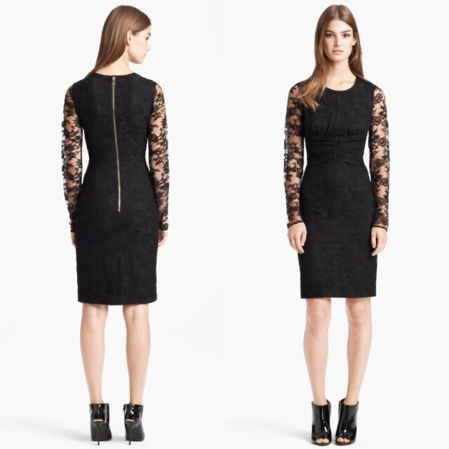 Burberry London Black Long Sleeve Sheer Lace Dress Size 10 Us Size