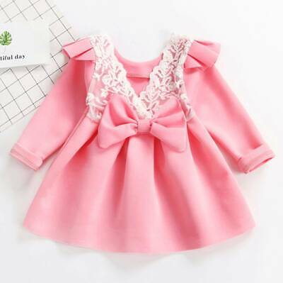 Christmas Toddler Kids Baby Girl Bowknot Lace Floral Party Swing Dress Clothes
