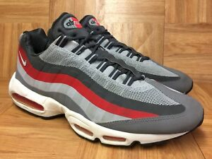free shipping 12698 ff8b4 Details about RARE🔥 Nike Air Max 95 No Sew Wolf Gray Red White Running  Shoes Sz 13 616190-006