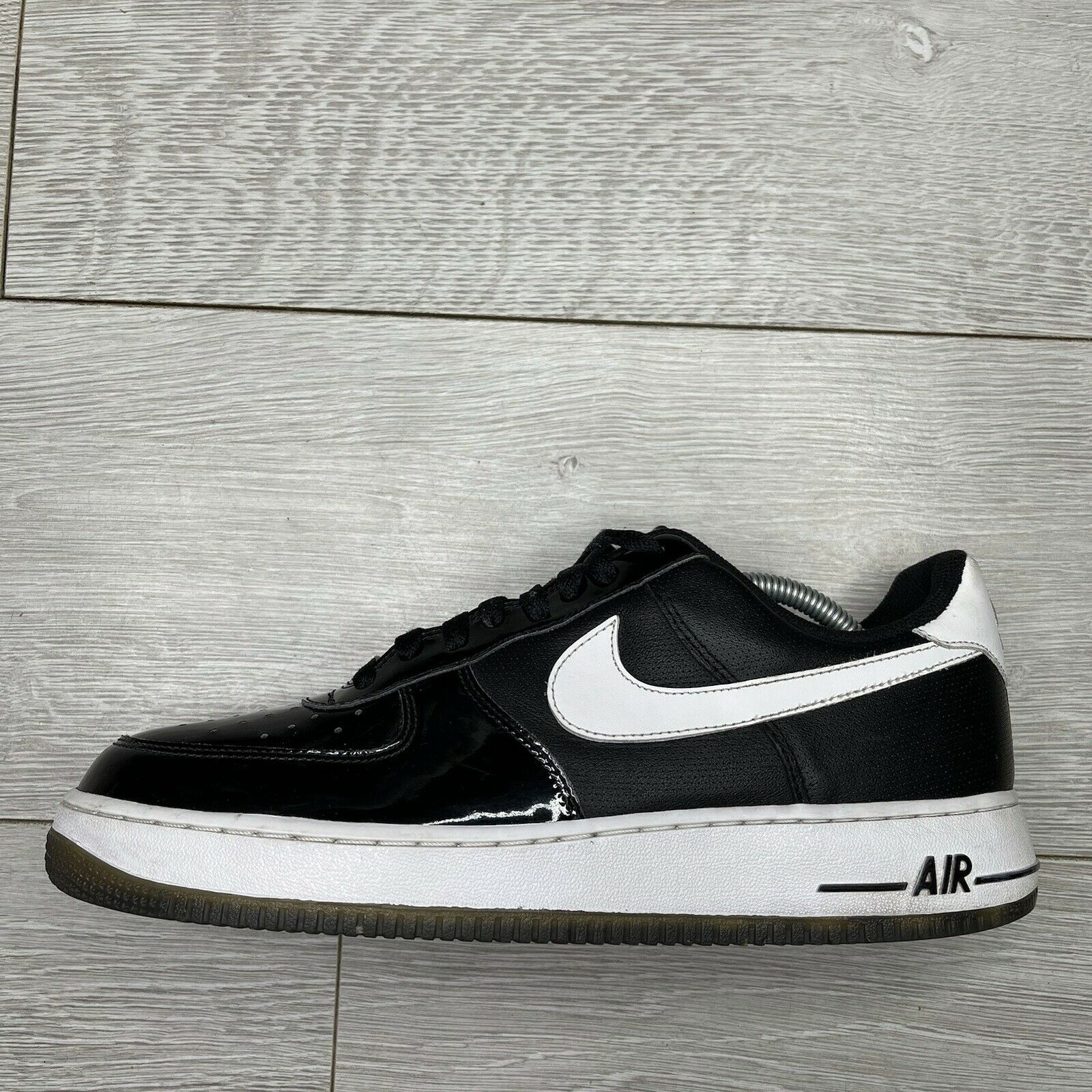 Nike Air Force 1 Black Patent Leather Trainers Size UK 10 EU 45 US 11