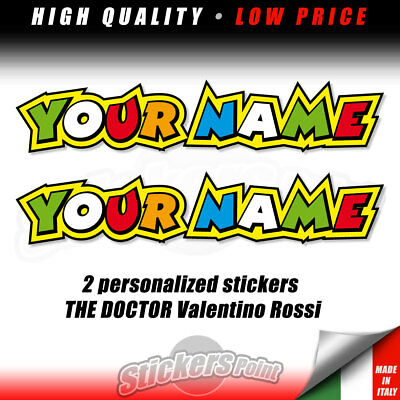 Stickers 6 x Personalised Rossi Style Name Decals