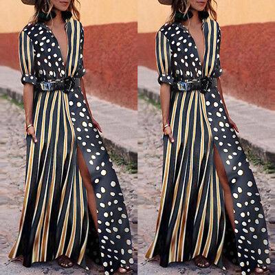 USA Women Summer Boho Long Maxi Dress Cocktail Party Beach Dresses Slit Sundress