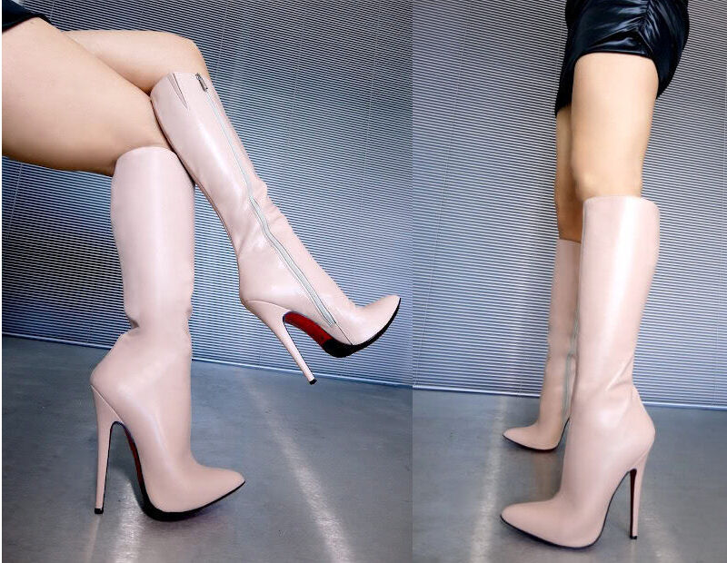 CQ COUTURE LEATHER KNEE HIGH EXTREME HEELS BOOTS STIEFEL STIVALI LEATHER COUTURE PINK NUDE 44 9b349a