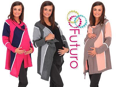 Womens Warm Maternity Cardigan Multicolour Poncho Blazer Cape Sizes 8 - 14 MV176