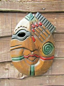 Fair Trade Hand Carved Made Wooden Tribal Woman Girl Ethnic Wall Art Plaque Mask