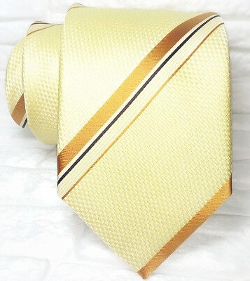 Capace Cravatta Seta Regimental Crema & Marrone Made In Italy Classica 8,5 Jacquard Elegante Nello Stile