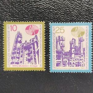 Alemania Oriental año 1971 Feria de la Autonomia de Leipzig  Nº 1383 y 1384