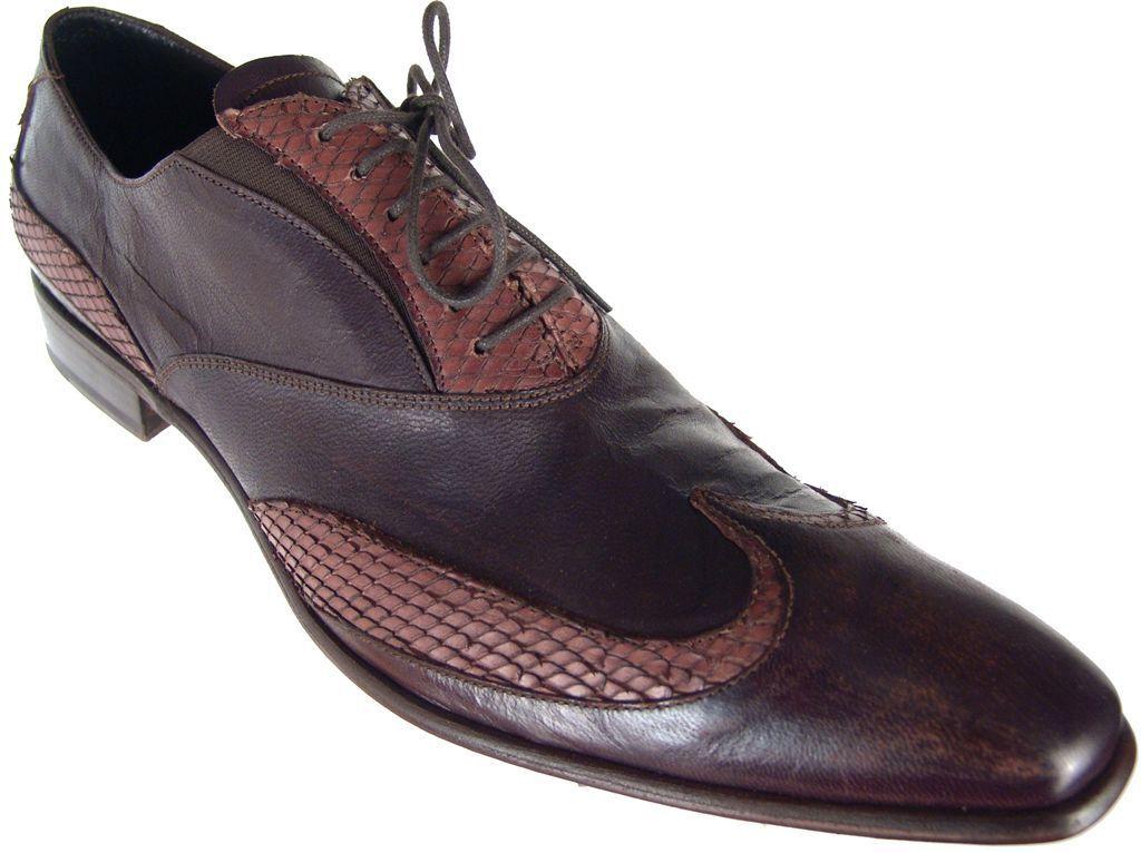FABI Marrón Cuero Con Cordones Para hombre Oxford Zapatos De Punta De Ala Nuevo Tamaño de la UE 46