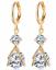 con cristales chapado en oro//plata pendientes de gota de agua JW022