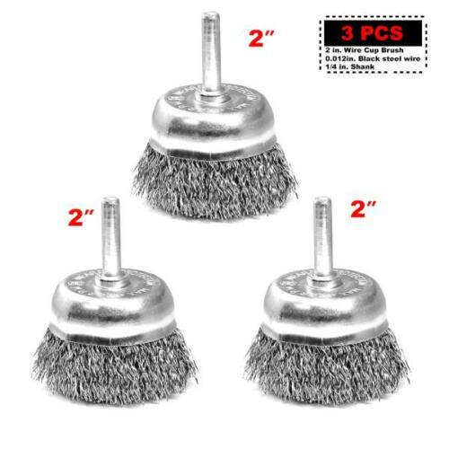 """3PC 2/""""x1//4/""""shank Crimped Steel Wire Cup Brush 1-1//8/""""  for Power Drill"""
