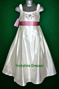 New-MONSOON-Age-9-10-Ivory-amp-Pink-SILK-Dupion-MEADOW-85-Bridesmaid-Party-Dress