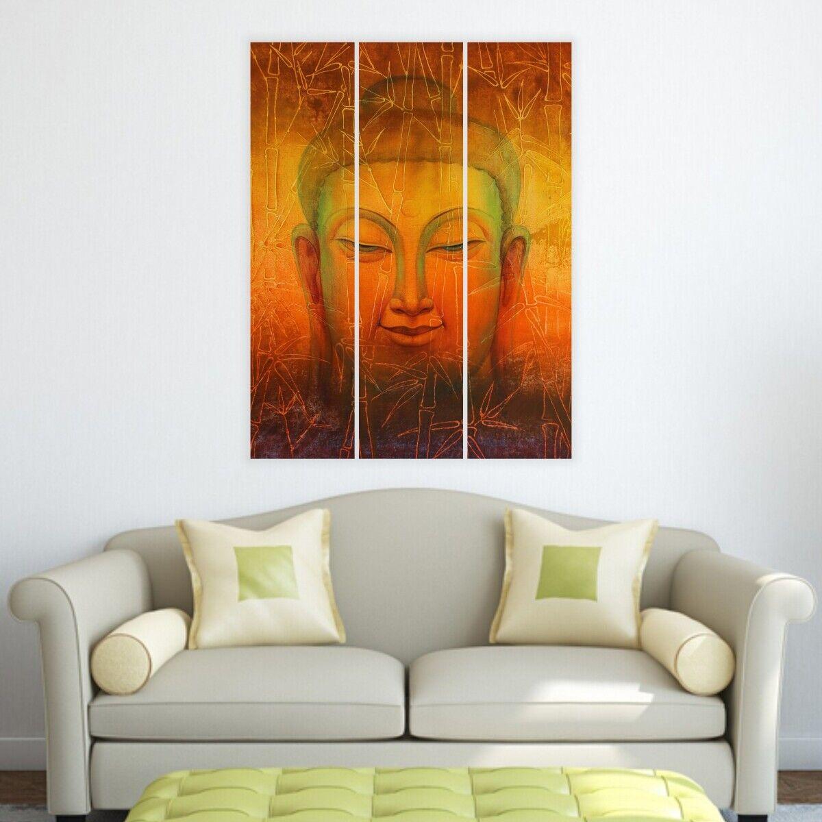 Bouddha-Split Image 3 panneaux pour salon murs  132 - hktpic-UK