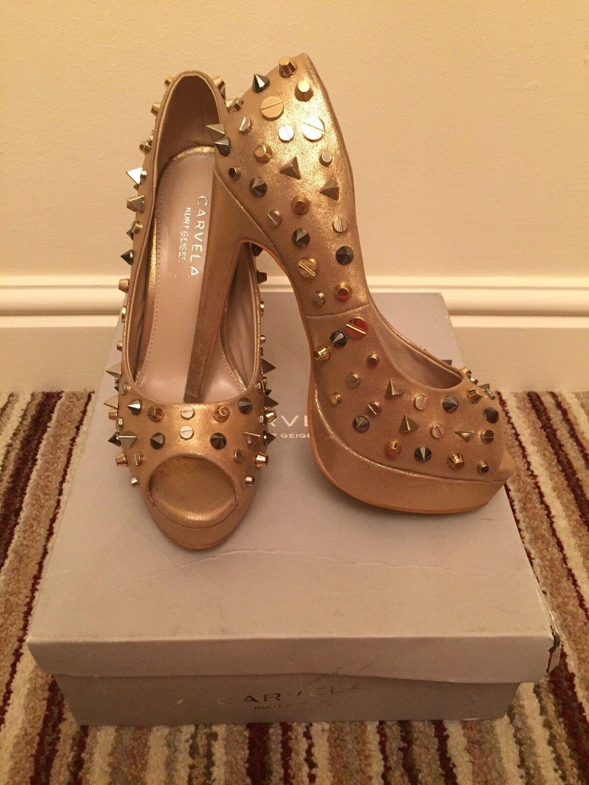 Kurt Geiger Carvela gold studded court shoes