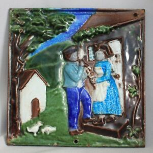 Vintage-CAST-IRON-Hand-Painter-ENAMELED-TILE