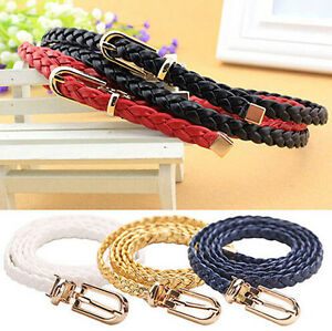 UK Womens Narrow Weaved Waistband Waist Belt Buckle Strap Rope Leather Braided