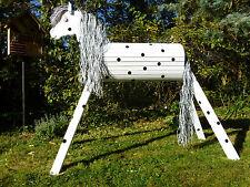 130cm Holzpferd Onkel mit Gesicht und Maul Voltigierpferd wetterfest lasiert NEU