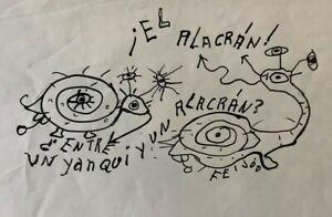 Samuel Feijoo. Drawing. El Alacran, ca 1976. Ink on paper. Original signed.