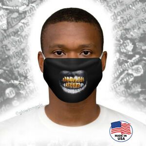 Gold-teeth-Grillz-Black-Bling-3D-face-mask-Cool-Funny-Washable-Free-Shipping
