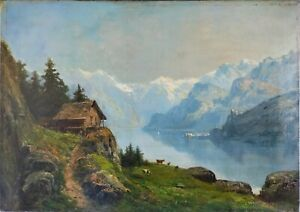 Theodore-levigne-oil-on-canvas-mountain-lake-approximately-65x46-cm