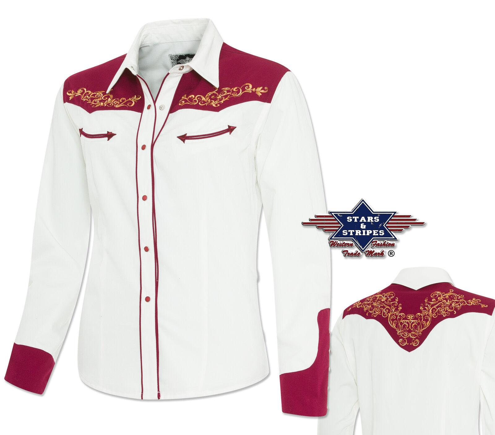Western Blause  Lucia   Gr. 3XL  - Stars & Stripes - Langarm Blause weiß-rot