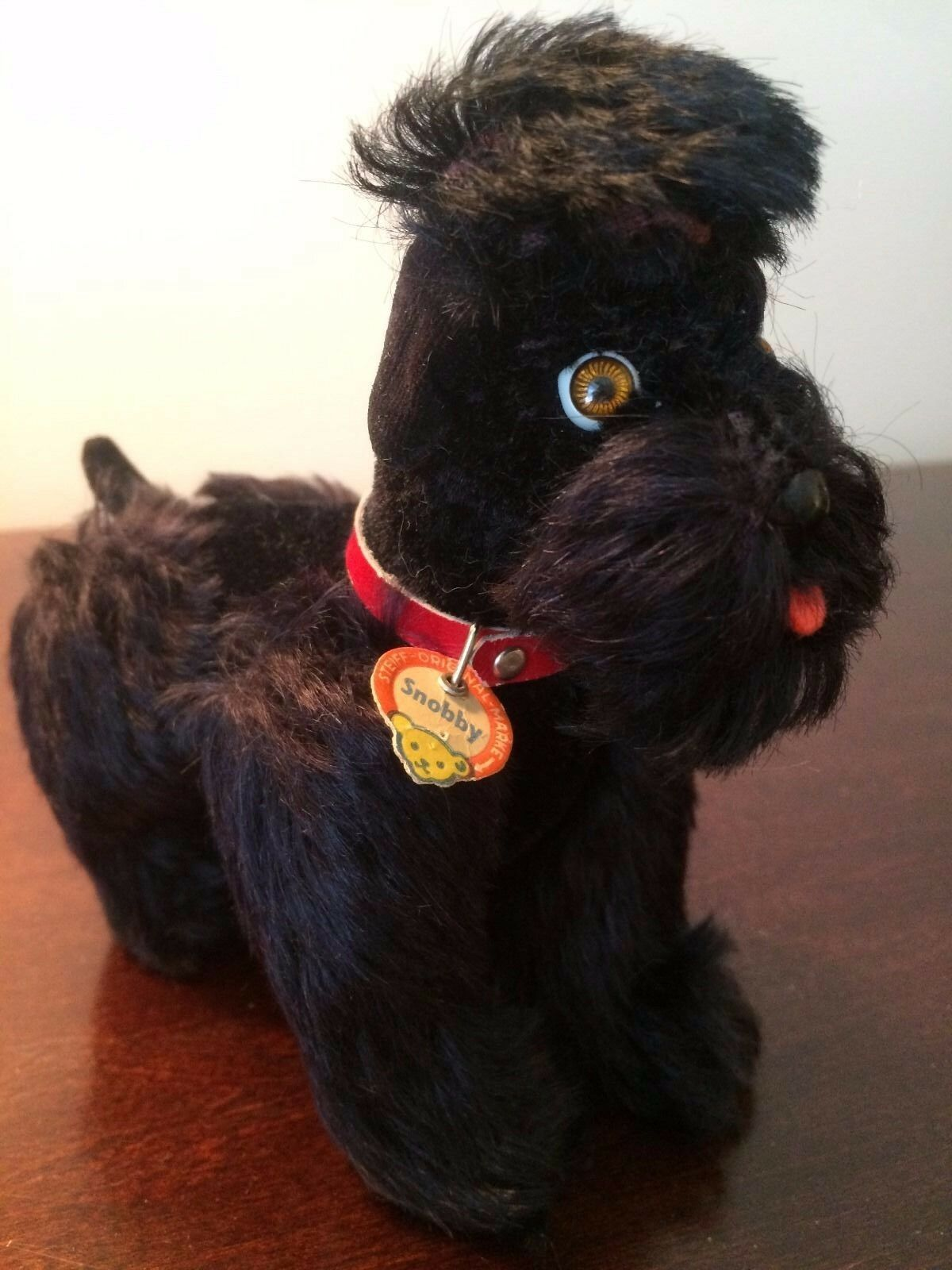Vintage Steiff Jointed Poodle Snobby Dog 5  w Button, Ear Tag Chest Tag 1953-72
