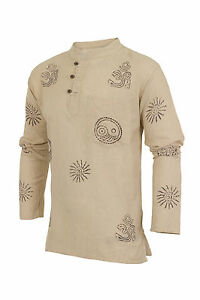 Grandad-Shirt-Stonewashed-100-Plain-Cotton-Kurta-Boho-Festival-Hippie-Jacket
