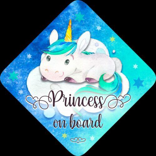 Princess on Board,Child Baby On Board Car sign Unicorn Blue Aqua