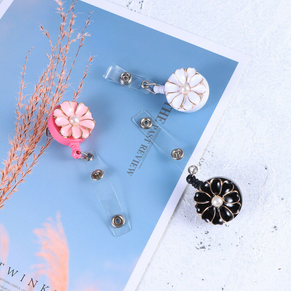 3pcs Badge Holder Flower Shaped Alloy and ABS Card Buckles for Teachers Students