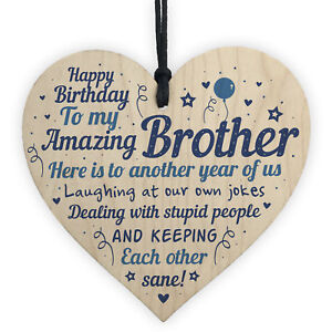 Image Is Loading Funny Birthday Gifts For Brother Handmade Wooden Heart