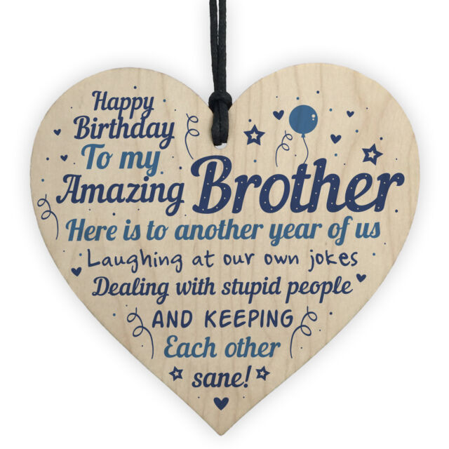 Funny Birthday Gifts For Brother Handmade Wooden Heart Gift From Sister Family Sale Online