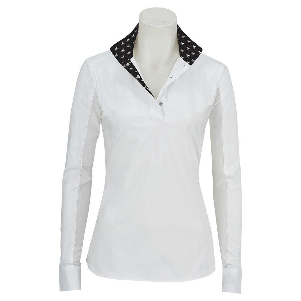 R680S-J RJ Classics Girls Rebecca Jr Show Shirt Weiß Blk Horse Print Trim NEW
