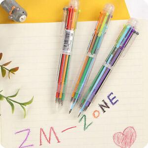 6-Farben-Kugelschreiber-blau-rot-gruen-lila-orange-schwarz-Mehrfarbig-New-L6V2