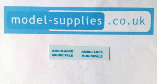 Francés Dinky 556 Citroen tobogán Conjunto de transferencia ambulancia Minucipale