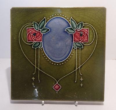 English Art Nouveau Ceramic Tile McIntosh Roses circa 1900