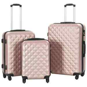 vidaXL-3x-Hardcase-Trolley-Set-Rose-Gold-ABS-Suitcase-Travel-Carry-Hard-Case
