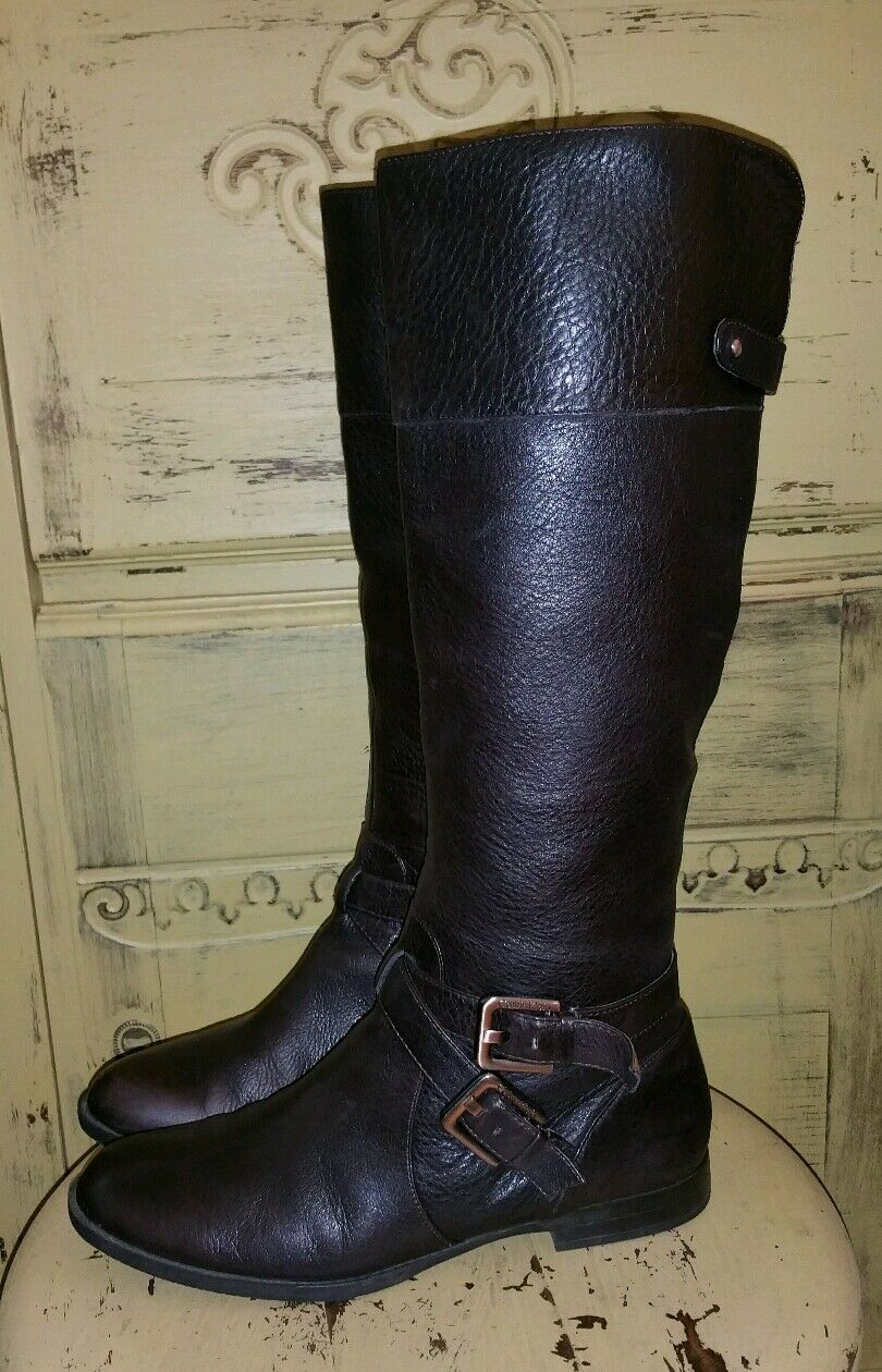 CALVIN KLEIN SOFT LEATHER HARNESS RIDING BOOTS TALL DARK BROWN 8 M EQUESTRIAN
