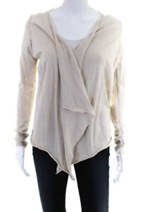 Zadig-amp-Voltaire-Womens-Long-Sleeve-Open-Front-Cardigan-Sweater-Beige-Size-Small