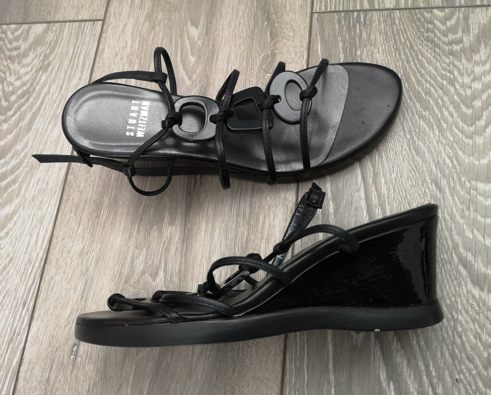 STUART WEITZMAN Black Strappy Leather Sandals Wedges Heels shoes UK 3.5 EU 36.5