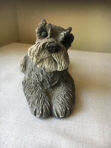 Vtg-Sandicast-Gray-Schnauzer-Terrier-Dog-Carved-Statue-Figure-Sandra-Brue-1981