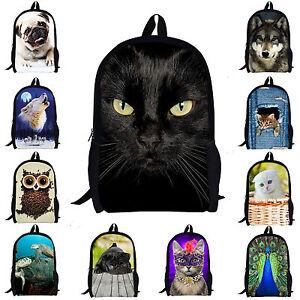 bb2fa83b5c Women Girls School Bag Owl Cat Satchel Backpack Rucksack Teen ...
