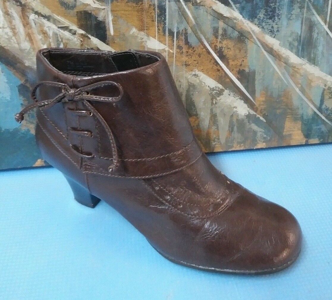 Aerosoles Womens Brown Leather Ankle Boots Sz 7 M