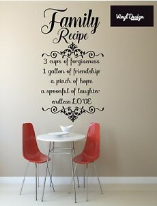Image Is Loading Kitchen Family Recipe Quote Vinyl Wall Art For