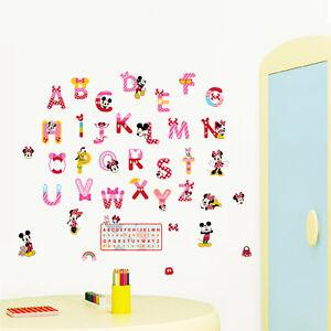Abc mickey minnie wall stickers vinyl mural alphabet for Alphabet mural nursery