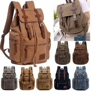 32L Canvas Leather Backpack Travel Rucksack Camping School Satchel Hiking Bag US